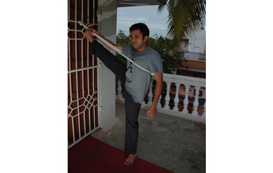 Yoga wall ropes practice by Vinay Siddaiah