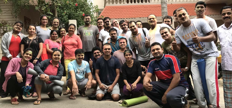 Holi celebration at Yogavijnana, Yoga center in Bangalore